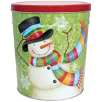3LB Scarf Snowman Tin with Salt & Pepper Chips