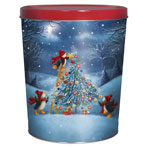 3LB Penguin Tree Trimming Tin with Barbeque Chips